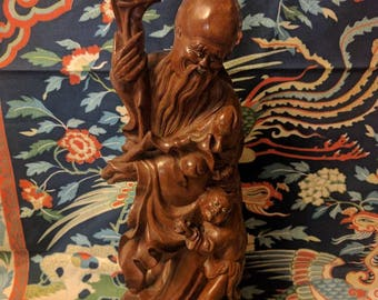 Lovely Antique Chinese Wood Carving God of Longevity Statue Fortune Child Shou Lao Shou Xing