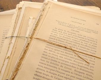 300 French Book Pages, Large Bundle of Antique Paper, Vintage Paper Pack, Mixed Paper Ephemera, DIY Paper Arts & Crafts
