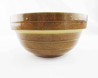 """Missing a Nesting Bowl? - """"USA 9 In."""" Bowl - Vintage, Crockery 9"""" Ribbed Bowl With Gloss Brown Finish - Great Surface - Fill it Up"""