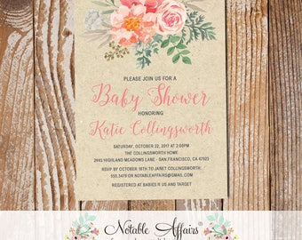 Watercolor Peony Roses Flower Posie Baby Shower Invitation on Kraft - Peony invite - For Bridal Shower, Gender Reveal, Housewarming, etc.