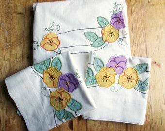 Bed Set - Full Flat Sheet and Pair of Pillowcases - Appliqued Pansies and Green Leaves Tied Together With Black - Pansies - Matched Set