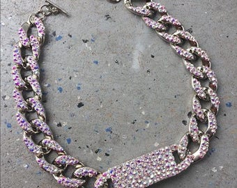 Fully Strassed Crystal AB ID Chain Choker