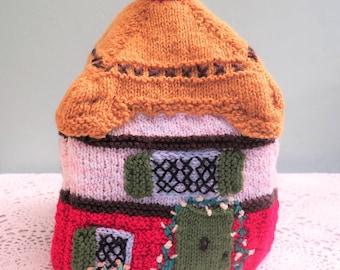 Vintage Cottage Tea Cosy - Vintage Hand Knitted Cottage Tea Cosy - Half Timbered Cottage - Vintage Tea Cozy - Knitted Tea Cosy - Kitsch Cosy