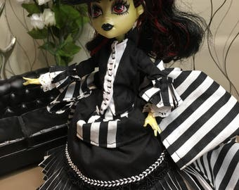 RESERVED - Custom Order for Mary (2049sr) - Black and White Striped Victorian Bustle Dress with Matching Hat