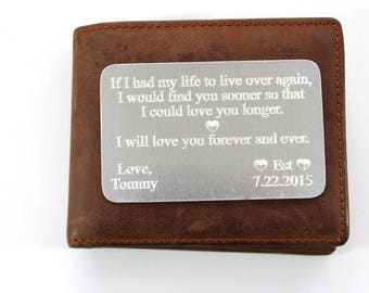 Wallet Insert Aluminum Card - Personalized Hand Stamped Metal - Gift Husband Boyfriend 10 Ten Year Anniversary, Anniversary