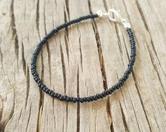 black bracelet boho beach party evening wear simple seed bead office jewellery