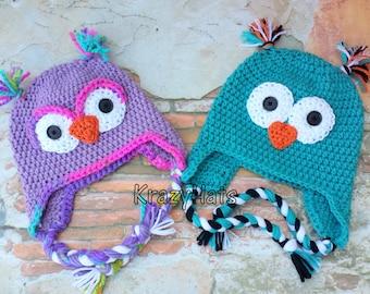 Crochet owl hat.Handmade owl hat.