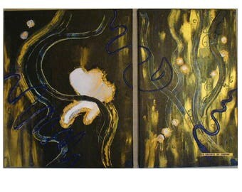 "Paintings ""HALOS"" Diptych abstract black and gold"