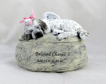 Ceramic Engraved Custom Breed Painted Cremation Urn - hand made pet urn