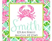 Preppy Crab Quatrefoil Tropical Labels Stickers for Party Favors, Gift Tags, Address Labels