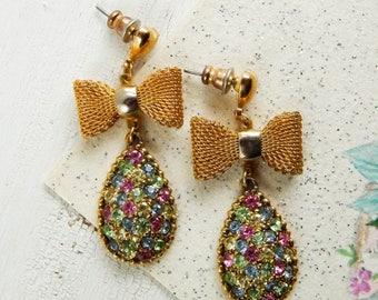Repurposed rhinestone earrings / vintage bows / vintage rhinestones / upcycled earrings / vintage earrings / upcycled vintage / shabby