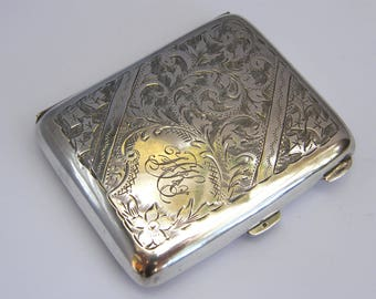 Antique-Solid Sterling Silver Ornately Engraved Cigarette Case-Birmingham-circa 1923