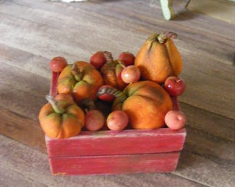 Crate of pumkins and apples witches feast 12th scale