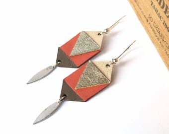 Geometric Earrings Leather, Coral Taupe Gold