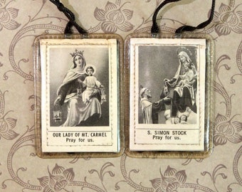 Brown Scapular Pair*Vintage Religious Pendant*Saint Simon, Our Lady of Mt. Carmel