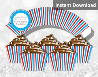 Turquoise, Red, White Stripe Cupcake Wrapper Instant Download, Circus, Whimsical, Mix & Match, Party Decorations