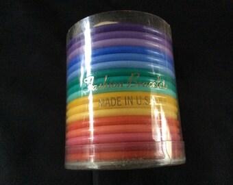 Vintage Rainbow Plastic Fashion Bangles Set