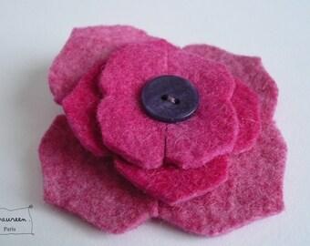 Felt hydrangea flower hair clip pink Flash