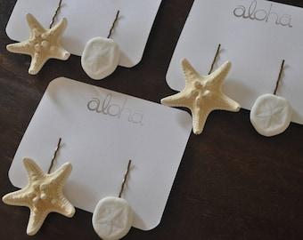 Starfish Hair Clips - BEACH WEDDING - Sand dollar -  Beach Hair Accessories - Knobby Starfish Clip - Starfish Hair Pins - Mermaid Hair