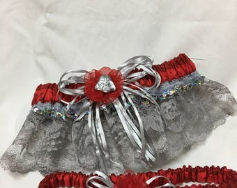 Custom Space Battle Red and Silver Sparkly wedding keep and toss garter set