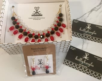 Red and Black Crystal Statement Bib Necklace Set