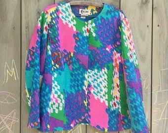 Vintage jacket | Bright colorful 1980s Encore cotton blazer