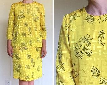 Vintage dress | 1980s Stuart Allen yellow and black long sleeved sack dress