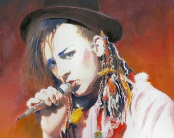 "BOY GEORGE, Culture Club - Original Ink and Watercolour painting - 7"" x 7"""