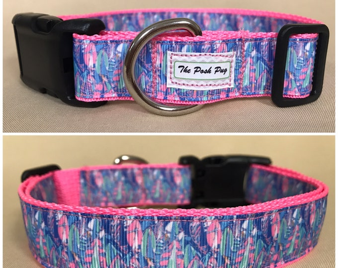"Handmade Lilly Inspired Pastel Sailboats 1"" Adjustable Dog Collar - LARGE"