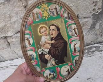 S. Antony, Jesus Child, Vintage Religious Picture, Wall Hanging, Catholic, Icon