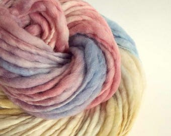 Handspun chunky merino thick and thin knitting yarn / wool - pastel pinks, golden yellow / caramel, pale blue and ivory