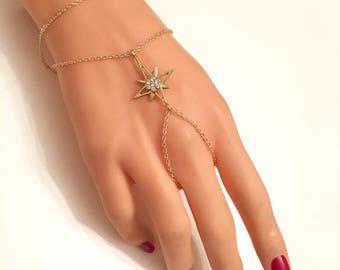 Hamsa hand slave bracelet, Boho Bracelet Ring, Gold Hamsa Hand Slave Bracelet ring, Stsr jewelry, Bohemian, Gift for Her, Valentines Day Gif