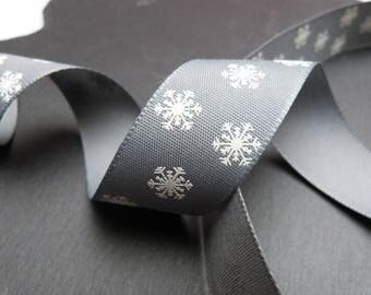 Grey White Polka Dot Snowflake Print Christmas Ribbon 25mm Wide Per Metre
