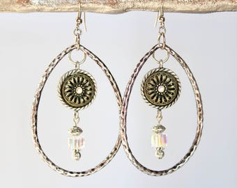 Aurora borealis Swarovski crystal and silver earrings on wire hooks