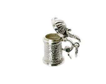 Sterling Silver Opening Beer Stein Charm For Bracelets