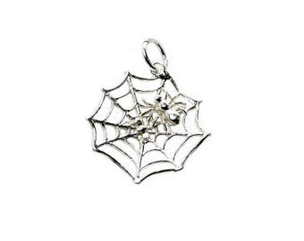 Sterling Silver Movable Spider On Spider's Web Charm For Bracelets