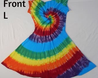 Tie Dye Twisted Front Dress Size Large
