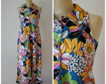 Sale Vintage Floral Maxi Dress / 1960s Flower Power Dress / Vtg 60s  Mod Maxi Dress / Groovy Floral Frock / Tropical Maxi Dress S/M