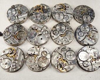 Vintage Watch Movements Movement Parts - set of 12 - c14