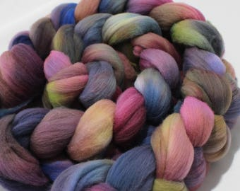 4oz Targhee 'Why So Dreary?' Combed Top Spinning Fiber Roving Spinning Fibre Dyed Wool Batt