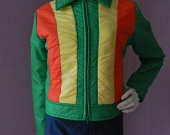 50% Off Closing Shop Sale Vintage 1970's Chalet Neon Green Orange And Yellow Ski Jacket / Zipper Closure Retro Waist Length Coat / M