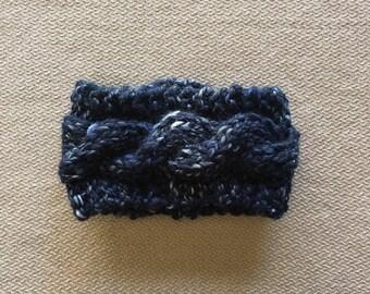 Cable knit earwarmer headband - chunky knit river run blue