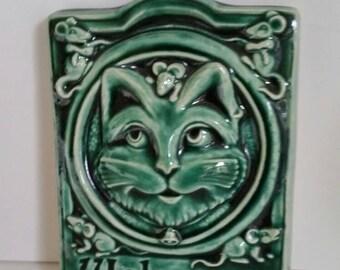 Vintage Ceramic Welcome Sign/Cat motif/Green Ceramic