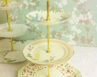 English Flower Garden 3 Tier Cake Stand