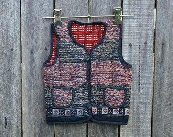 Double sided baby vest printed quilted  childs Indian ethnic boho padded size 1 2 3 waist coat jacket winter warmer