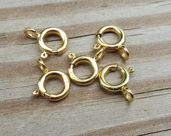 5 pieces 7mm Large 14k Gold Filled Heavy Duty Spring Clasp Made in the Usa