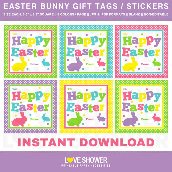 Easter bunny gift tags printable file 6 designs blank gift il570xn negle Choice Image