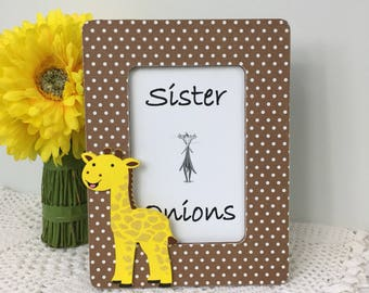 Tall Tails Decoupaged Picture Frame - Giraffe Picture Frame - Nursery Picture Frame - Baby Room Decor