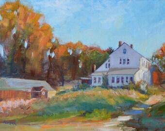 House on farm, Fall painting, Barn painting, Original landscape painting oil, Autumn landscape, Rustic decor, New England farm