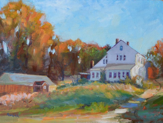 House on farm, Fall painting, Barn painting, Original landscape painting oil, Autumn landscape, Rustic decor, New England farm